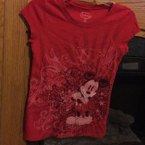 Disney, juniors red Mickey Mouse, short sleeve